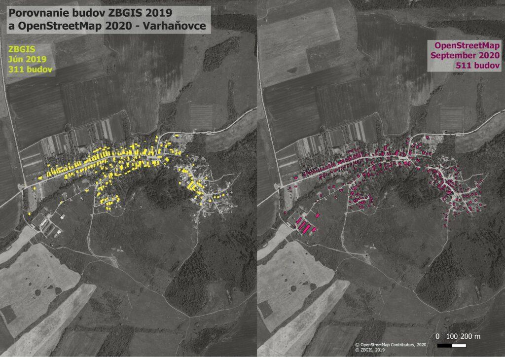 Porovnanie budov ZBGIS 2019 a OSM 2020 - Varhaňovce